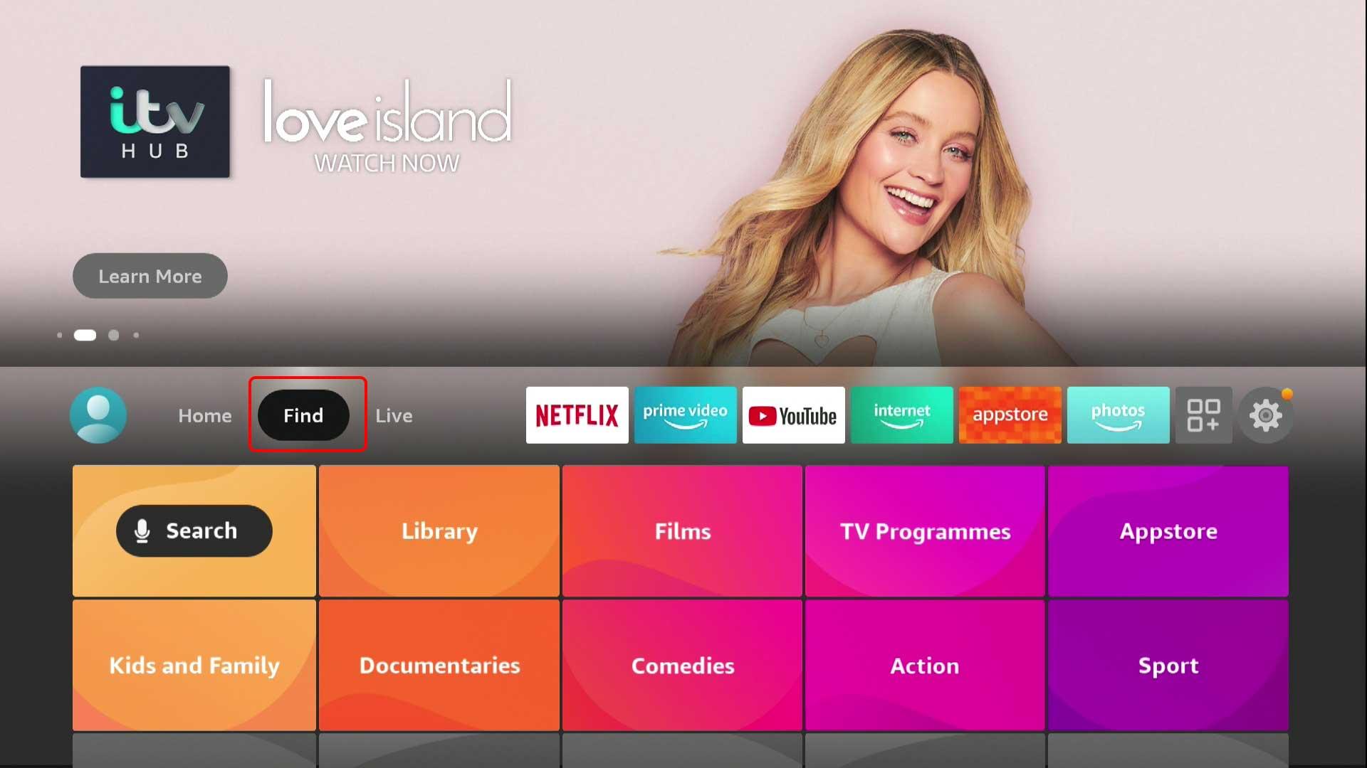 Перейдите в поиск с домашнего экрана Amazon Fire TV Stick