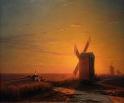 Ivan Aivazovsky - Windmills in Ukrainian Steppe at Sunset (1862). Oil on canvas.