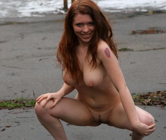 Very Cute Russian Teen Girl With Tattoo Walks Naked At Yard In Moscow 55 Photos