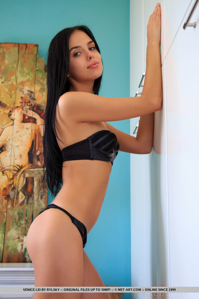 Venice Lei Strips Her Black Lingerie On The Bed As She Displays Her Unshaven Pussy 1