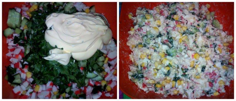 салат с крабовыми палочками и кукурузой классический рецепт