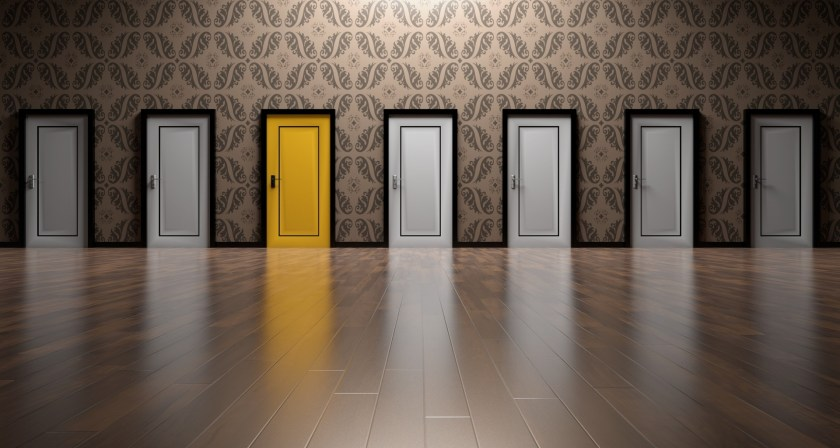 Many doors to choose from, one is yellow, the others are all white, signifying the choices of language values