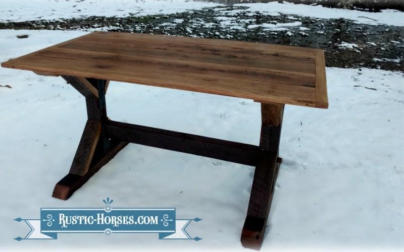 new twist on the trestle x table, made with a cedar barn wood base