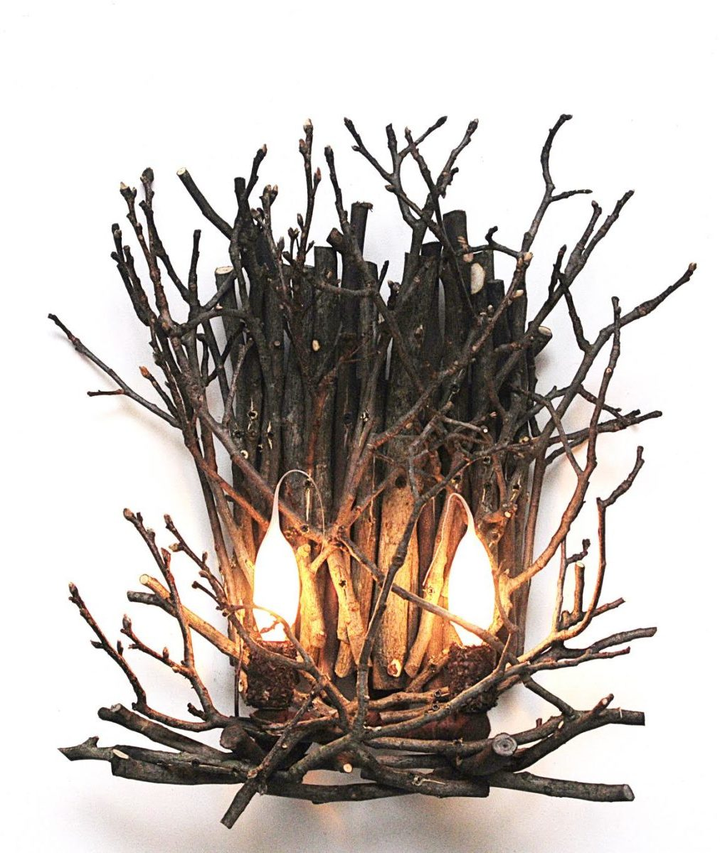 twig wall sconce with 2 candles