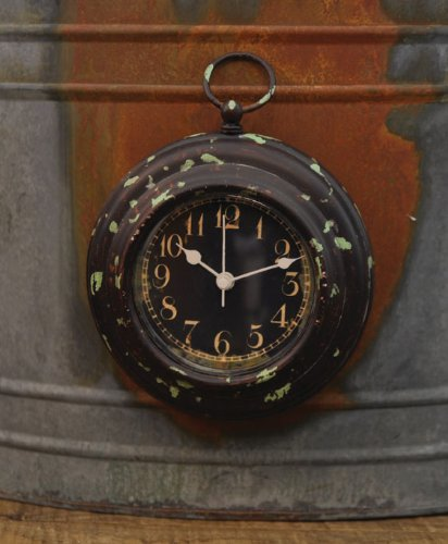 Rustic Remembrance Clock with Green Accents