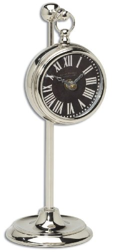 Uttermost Pocket Watch Nickel Marchant Black Wall Clock