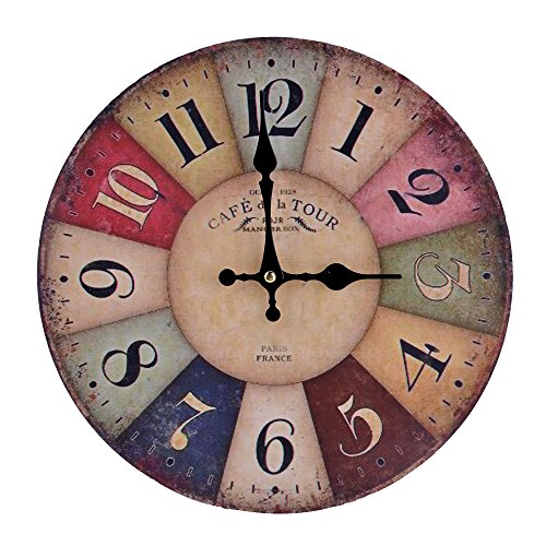 FINEJO 12″ Large Vintage Rustic Wooden Wall Clock Kitchen Antique Shabby Chic Home