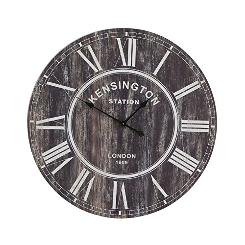 LightMakers 6202900 LightMakers The Paddington Round Wood Clock, 31.5-Inch, Brown