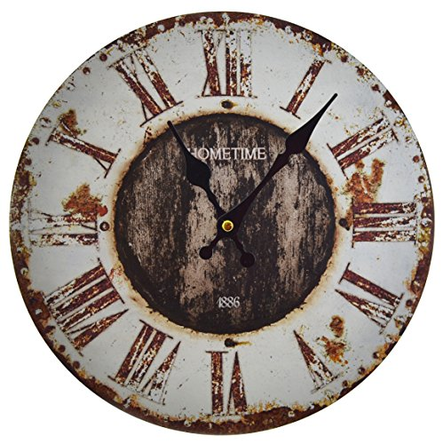 Hometime Round Wall Clock 30cm Rustic Vintage Effect