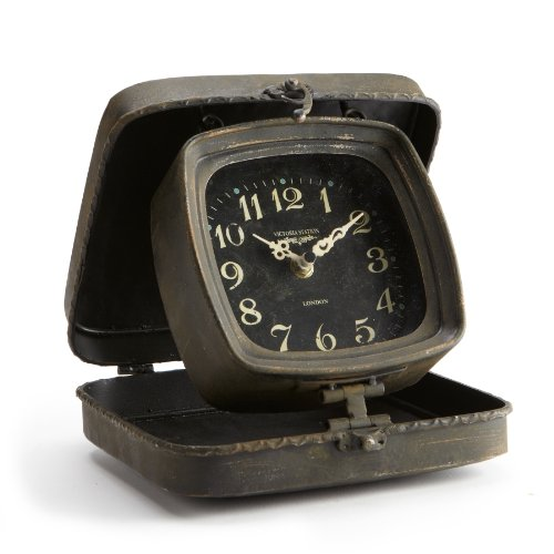 Abbott Collection Vintage Metal Folding Clock, 9-Inch, Brown
