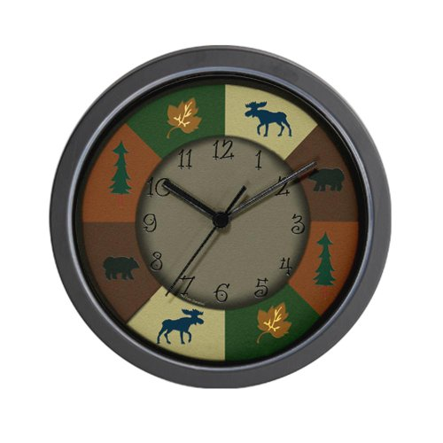 CafePress Bear Moose Lodge Rustic Wall Clock – Standard Multi-color