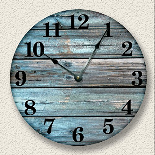 Weathered Boards Wall Clock Distressed Teal Rustic Cabin Wall Decor