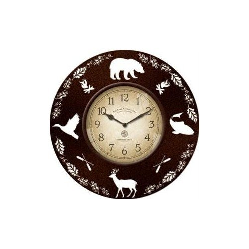 Decorative Rustic Wall Clock with Wildlife Cut Out Silhouettes 13 ""