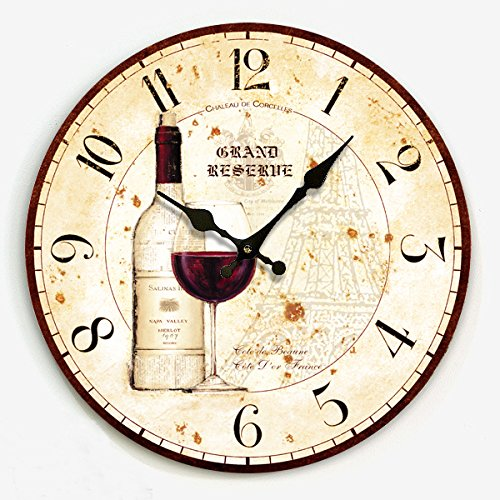 Modern Design American Rustic Vintage Wine Bottle Wall Clock Kitchen