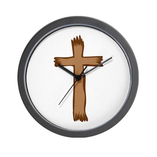CafePress Wooden Cross Wall Clock