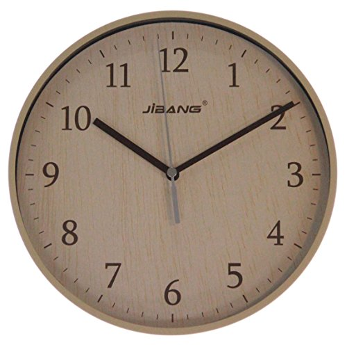 JustNile Minimalist Round 9-inch Sweeping Movement Wall Clock – Wood Grain