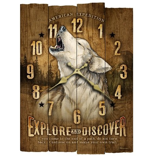 American Expedition Gray Wolf Wooden Wall Clock