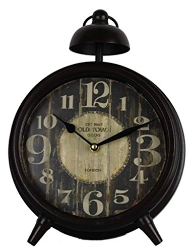 Vintage Antique Black Metal Table Clock Rustic Home Décor Accent