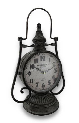 Weathered Finish Railroad Lantern Double Sided Metal Clock