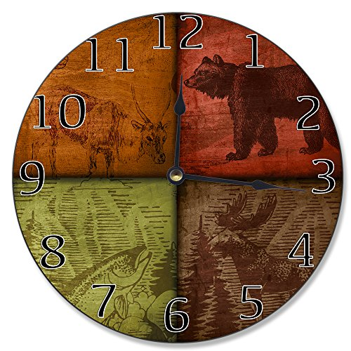 The Stupell Home Decor Collection Wall Clock, Rustic Wildlife Patchwork