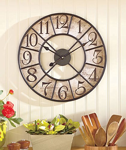 16″ Vintage Style Distressed Black Metal and Wooden Clock Wall Hanging Decor Home Accent Rustic Antiqued Finish Design Decoration