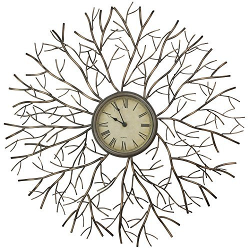 Lulu Decor, Metal Branch Sphere Wall Clock, Size 27″, Bronze, Perfect for Housewarming Gifts.