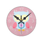 Beautiful Colorful Custom Spring Owl Round Wallclock