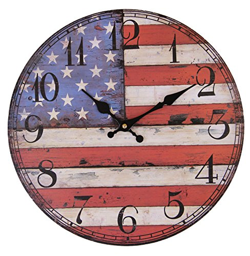 JustNile Rustic Country-Style Round Wall Clock – 13-inch American Flag