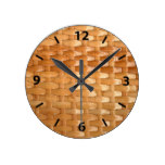 Glossy Wicker Basketweave Texture Look Round Clock