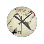 Japanese,vintage,cherry blossom,water colour,art, round clocks