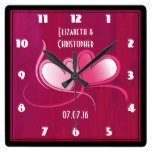 Personalized Wedding Date with 2 Hearts Square Wall Clock