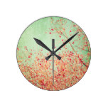 Vintage,cherry blossom,rustic,grunge,trendy,girly round clock