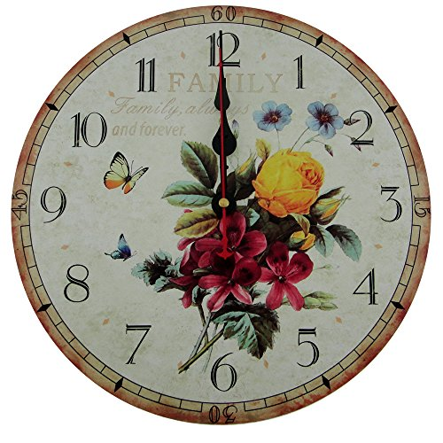 Usmile 12″ Vintage heart-warming family always and forver Wooden Wall Clocks Decorative wall clocks Retro wall clocks