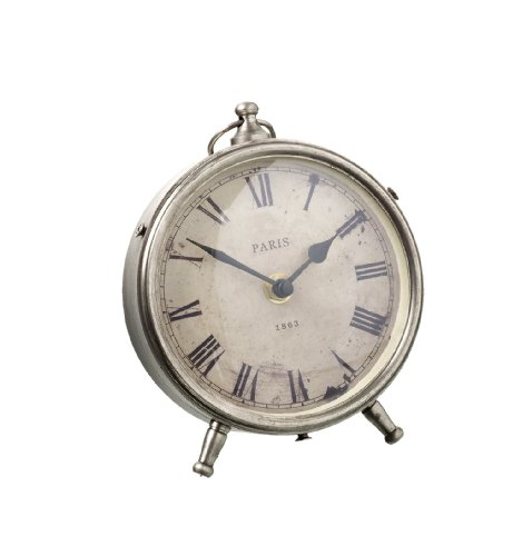 Round Silver Desk Mantel Clock – Burnished Finish