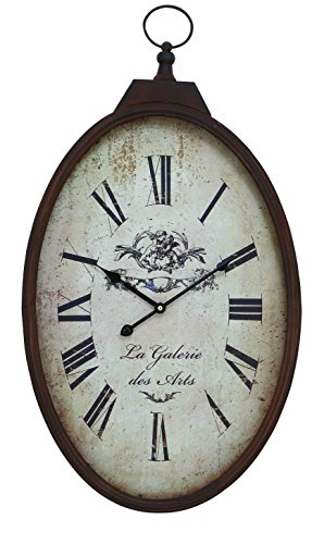 Benzara 66972 Wall Clock Vintage Style with Roman Numbers in Oval Shape