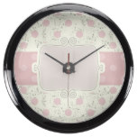 Cute,girly,vintage,rustic,flora,polka dot,pink,fun aqua clock