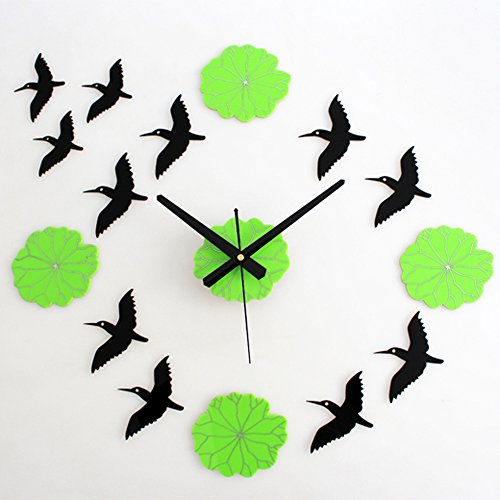Yikebo(TM) Elegant Geese Green Lotus Leaves Creative Rustic DIY Self Adhesive Acrylic Living Room Decoration Wall Clock Quartz 3D Digital Home Décor Retro Art Watch