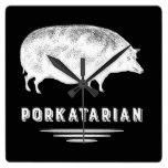 Funny Bacon Lover's Vintage Pig – Porkatarian Square Wall Clocks