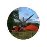 Rustic Red Barn Country Scene – ADD YOUR TEXT Round Clock