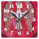 Western Cross, Wings, Bling on Red Leather Look Square Wallclock