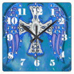 Western Cross, Wings, BlingBlue Leather Look Square Wallclocks