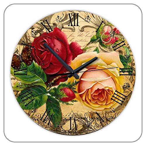 12 Inch European Antiques Rose Wall Clock with Quiet Clock Movement Rustic Wall Decals Clock Home