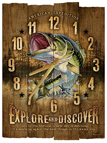 American Expedition Largemouth Bass Wooden Wall Clock