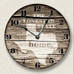TEXAS State Wall Clock old weathered boards rustic cabin country decor
