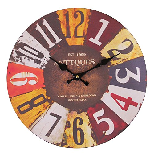 JustNile Rustic Country-Style Round Wall Clock – 13″ Colorful Digits and Dial