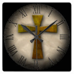 Beautiful Custom Christian Jesus Rustic Cross Square Wall Clock