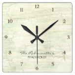 Driftwood Ocean Beach House Coastal Seashore Square Wallclocks