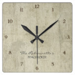 Driftwood Ocean Beach House Coastal Seashore Square Wallclock