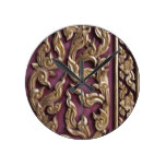 gold painted,wood carved,antique,floral,vintage, round wall clocks