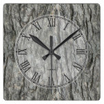 Gray Tones Rustic Wood Bark Square Wall Clocks